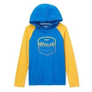 NWT Tony Hawk snorkel blue raglan hoodie, Sz 10/12